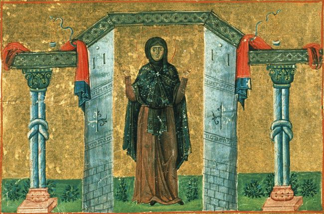 St Melania the Younger, from the Menologion of Basil II (c. 1000)